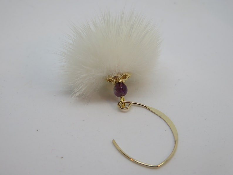 white fur pompom and amethyst on 14 carat gold filled ear hook KYMIA