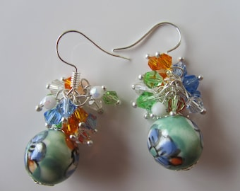 """""""Mahalia"""", Pearl floral ceramic and bicone Crystal cluster earrings"""
