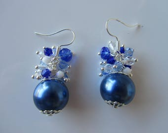"""Blue Pearl and bicone Crystal cluster earrings """"Nilasha"""""""