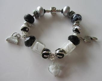 Bracelet European beads, Pandora style white/black snake