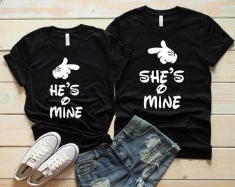 4d02433e4f She's Mine and He's Mine Matching Couples Shirts - Disney Couples - Matching  Disney Shirts - Disney Fan
