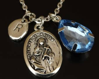St Catherine of Siena Necklace, St Catherine of Siena Charm, St Catherine of Siena Pendant, St Catherine of Siena Medal, Saint Catherine