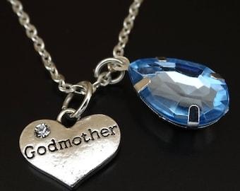 Godmother Necklace, Godmother Charm, Godmother Pendant, Godmother Jewelry, Godmother Gift, Goddaughter Godmother, God Mother Necklace