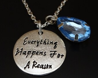 Everything Happens for a Reason Necklace, Fate Necklace, Fate Jewelry, Affirmation Necklace, Get Well Gift, Get Well Soon Gift, Spiritual