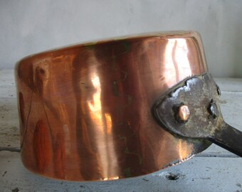 Large Antique French COPPER Jam Pan. Green French COPPER Jam Pan