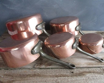 copper pots gift for foodie French country copper cookware copper anniversary farmhouse decor  set of 5 copper pans rustic kitchen decor