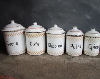 Enamel kitchen canisters. Vintage enamelware wedding gift idea.French Vintage storage tins.Homestead Kitchen.Unique wedding gift ideas