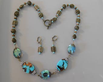 Turquoise Brass Necklace and Earrings