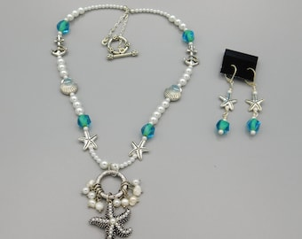 Beachy Pearl Starfish Necklace And Earrings