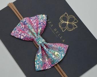 Unicorn Bow Headband - Glitter Bow - Bow Headband - Baby Bow Headband - Girls Bow Headband - Nylon Bow Headband - Glitter Bow Headband