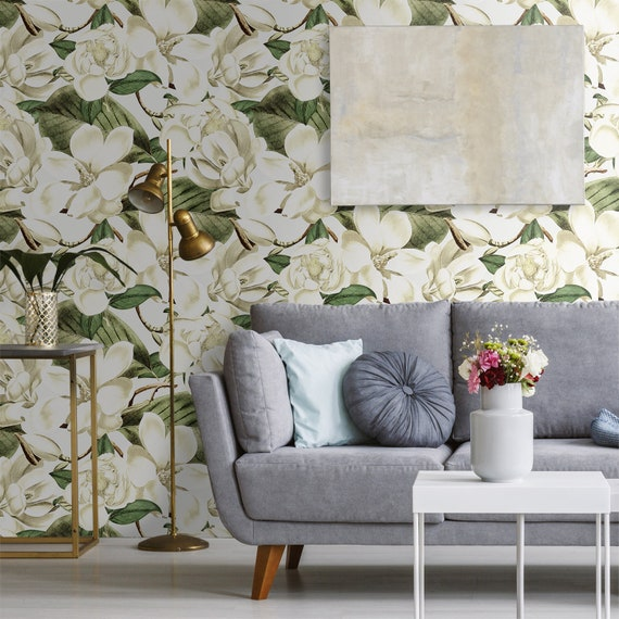 Watercolor Large Floral Removable Wallpaper Peel And Stick Etsy