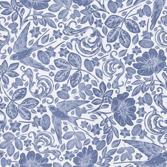 Watercolor Floral Wallpaper Indigo Blue Wallpaper Botanical Hand Painted Wall Mural Floral Bedroom Wallpaper W1227