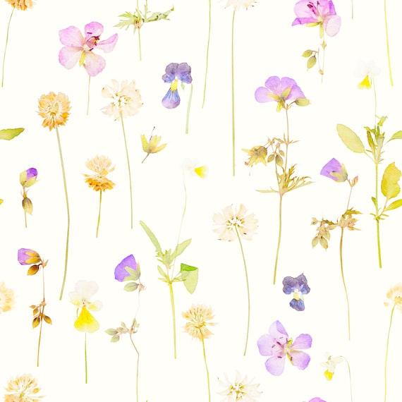 Pressed Flowers Removable Wallpaper Floral Watercolor Wallpaper Large Floral Wallpaper Botanical Nursery Wallpaper W1220