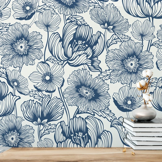 Poppy Wallpaper Large Floral Peel And Stick Removable Etsy
