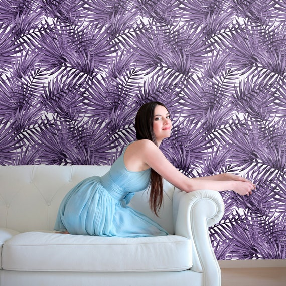Palm Leaf Removable Wallpaper Purple Palm Tree Peel And Stick Etsy