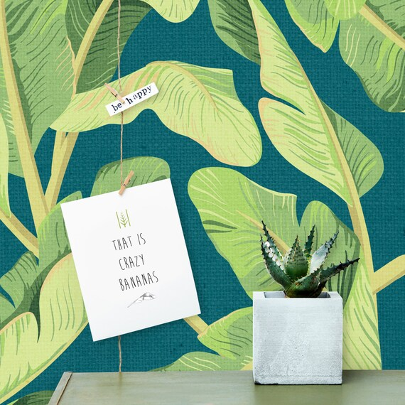 Prime Banana Leaf Wallpaper Print Palm Leaf And Banana Leaf Cactus Decor Succulent Wallpaper Print Removable Wallpaper Wall Mural W1122 Machost Co Dining Chair Design Ideas Machostcouk