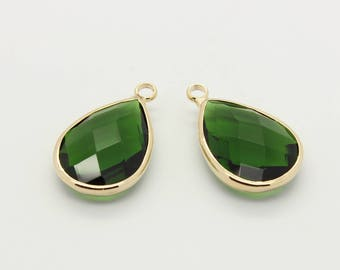 2 Pcs, Emerald Glass Pendant, Emerald Charm, 16K Gold Plated Over Brass, Framed Glass, Green Charm. 22mm x 13.5mm, Gold Bezel, 12L2-07G-01C