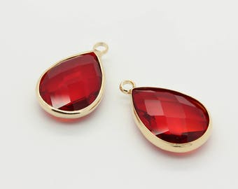 Framed Glass Pendant, Brass Framed Glass Pendant, Gold Plated Brass, Glass Charm, Drop Pendant, 2pcs, 22mm x 13.5mm, Red Ruby, 12L2-01G-01C