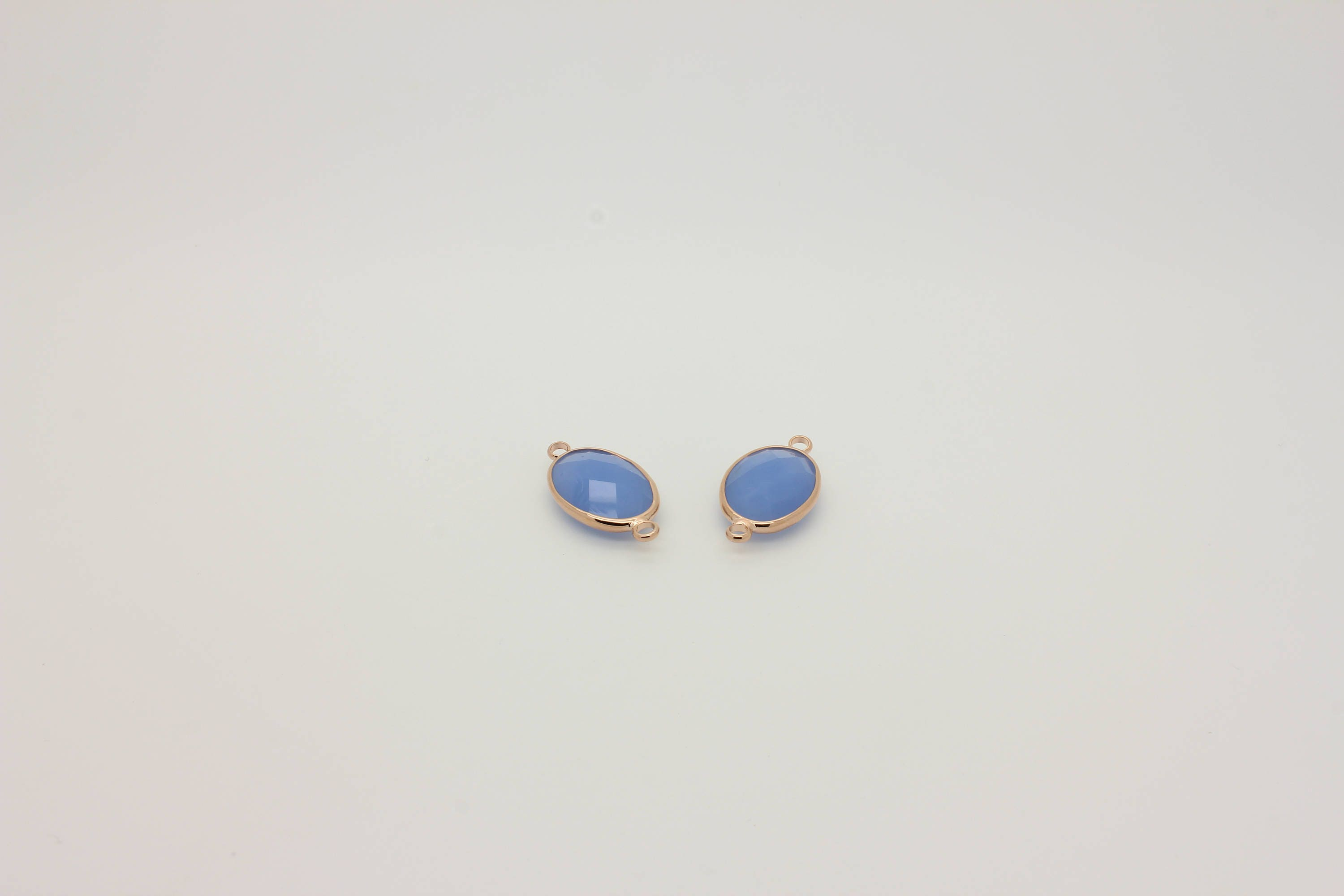 Oval Faceted Glass Connector 1 Pcs Connector Charm 22L3-05R-11C Matt Light Blue Glass Connector Real Rose Gold Plated Framed Connector