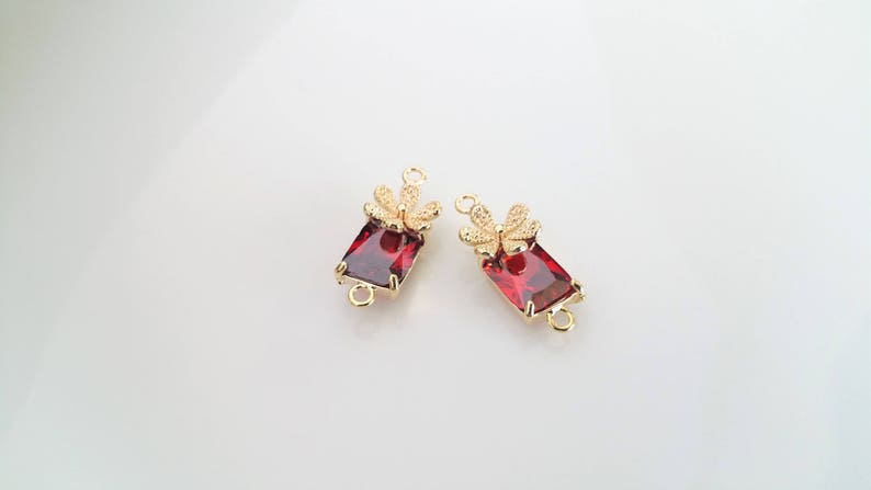 Floral Connector Real 16K Gold Plated Over Brass 2 Pcs Cubic Zirconia Plum Flower Connectors 12R3-31G-03C Red Ruby Cubic Zirconia Bead