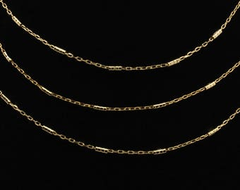 Gold Chain, Real 16K Gold Plated Chain Necklace, Long Oval Bar Chain, Bulk Chain, Choker Chain, Dainty Oval Chain, 1 Foot, CH10-G-06C