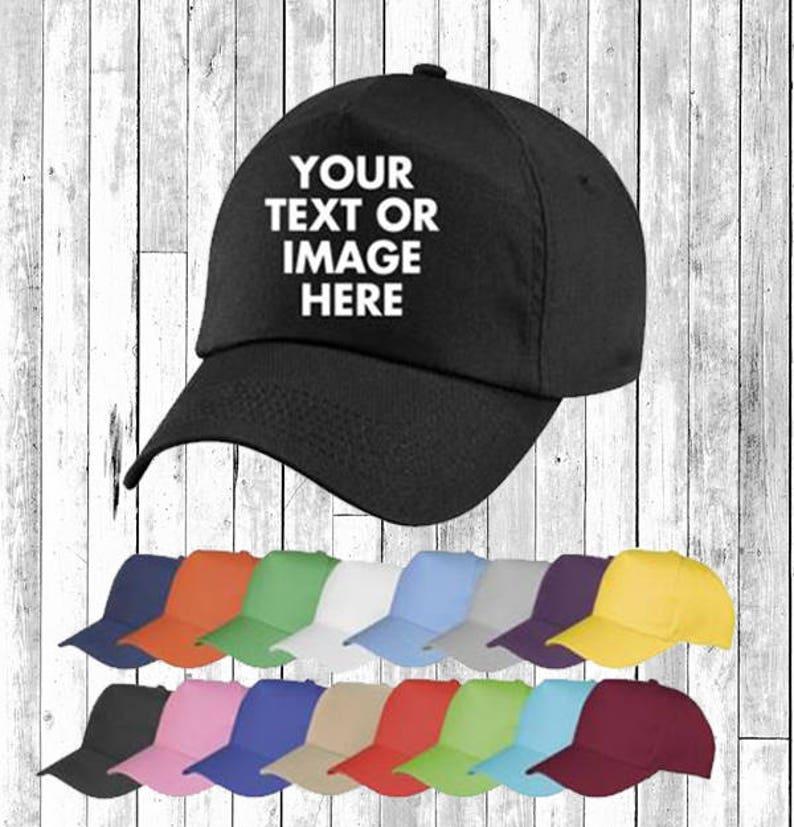Personalised Embroidered Printed Baseball Cap Hat Custom Hat image 0