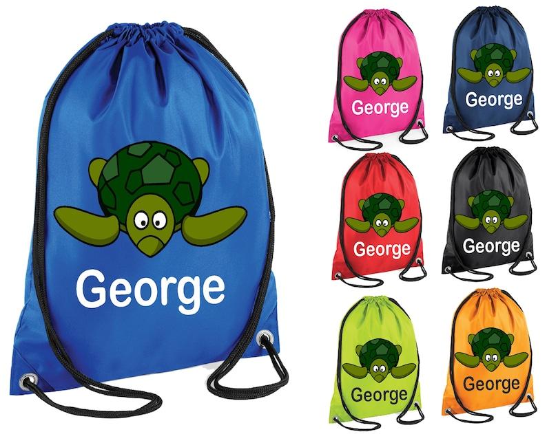 66a5c9ee8e66 Animal tortuga personalizado impreso natación bolsa gimnasio bolso lazo  escuela PE saco Kit deportes niños Navidad regalo Tumblr Pintrest