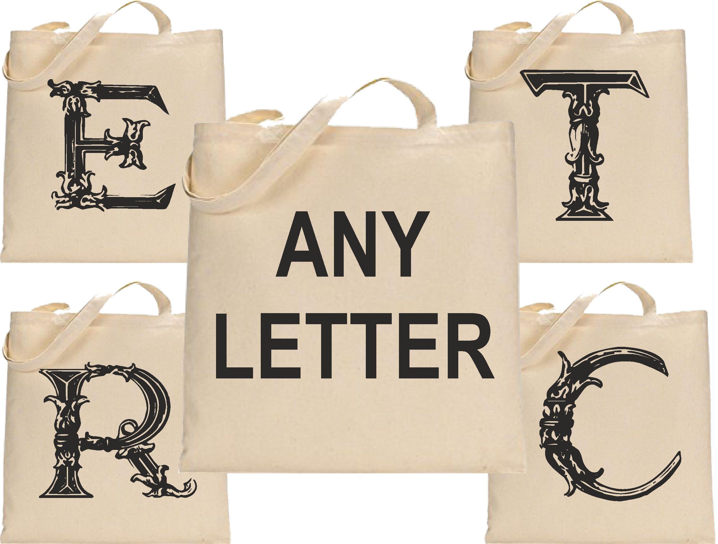 Personalised Fancy Initial 1 Canvas Tote Bag Cotton Custom Printed Shopper Bag