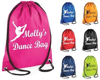 Personalised Dance Dancing Gym Bag Swim Drawstring School PE Kit Sports Kids Xmas Gift Tumblr Pintrest