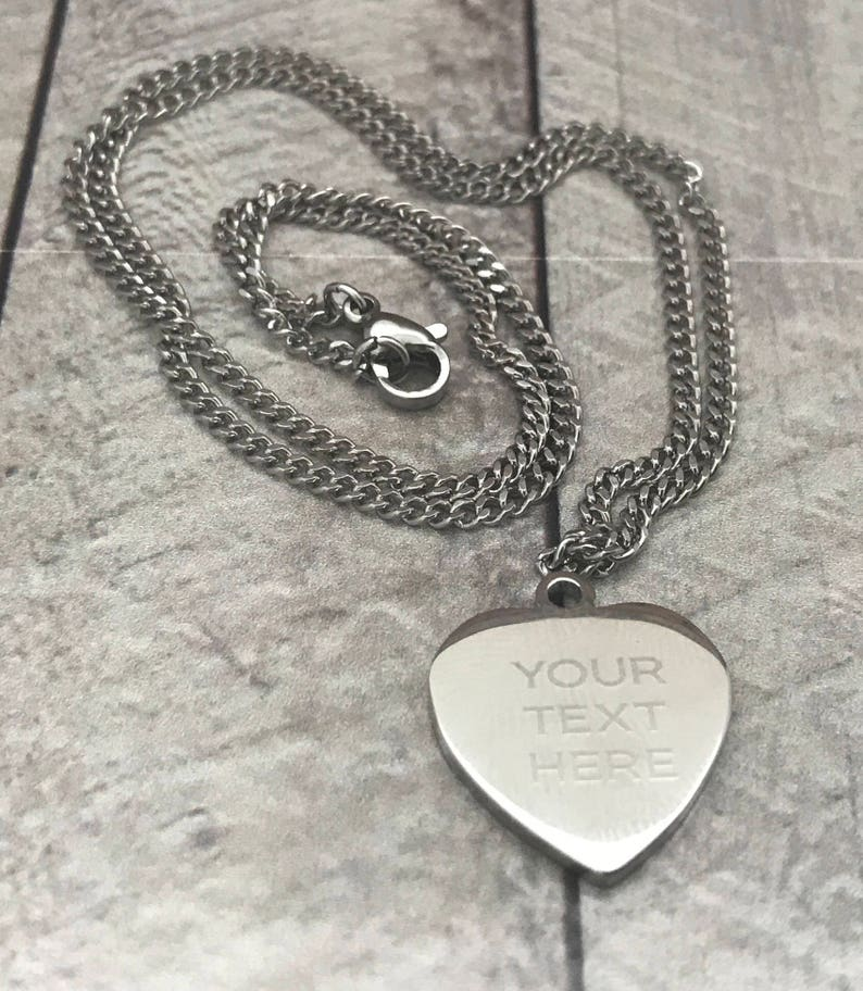 Text Engraved Mini Heart Pendant Personalised Photo Great Christmas Gift!