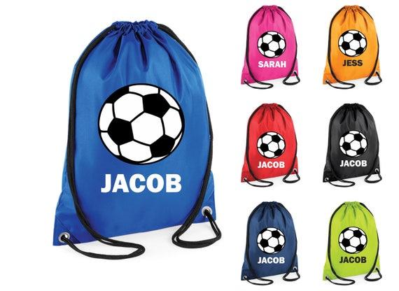 Personalisierte Fussball Fussball Gedruckt Schwimmen Tasche Gym Bag Kordelzug Schule Pe Kit Sack Sport Kinder Xmas Geschenk Tumblr Pintrest