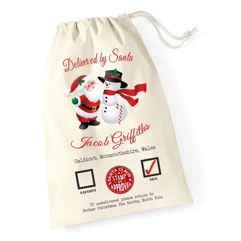 Personalizado Cualquier Nombre Santa Saco Navidad Reno Navidad Bolsa Medias de 22