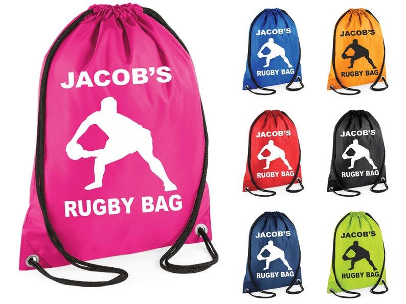 9de2488ecb2f Silueta de Rugby personalizado impreso natación bolsa gimnasio bolso lazo  escuela PE saco Kit deportes niños Navidad regalo Tumblr Pintrest