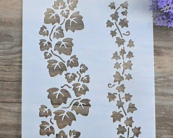 Trailing Ivy stencil-Reusable vine leaves template-craft supplies/Wall Art/Furniture/Fabric stencilling/Painting