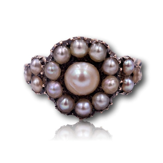Antique Victorian Pearl Gold Cluster Ring Size 7 1