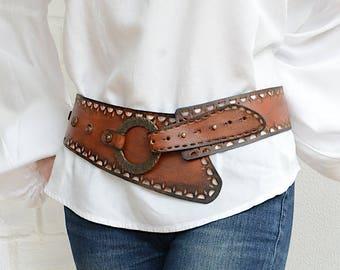 Wide leather belt Womens leather belt Wide belt Bohemian hip belt Womens belt Boho belt Dress belt Western leather belt Plus size available