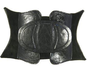 7f5195098a Black leather corset belt Wide waist belt Womens belt Boho belt Wide corset  belt Leather womens belt Wide belt Waist cincher Plus size belt