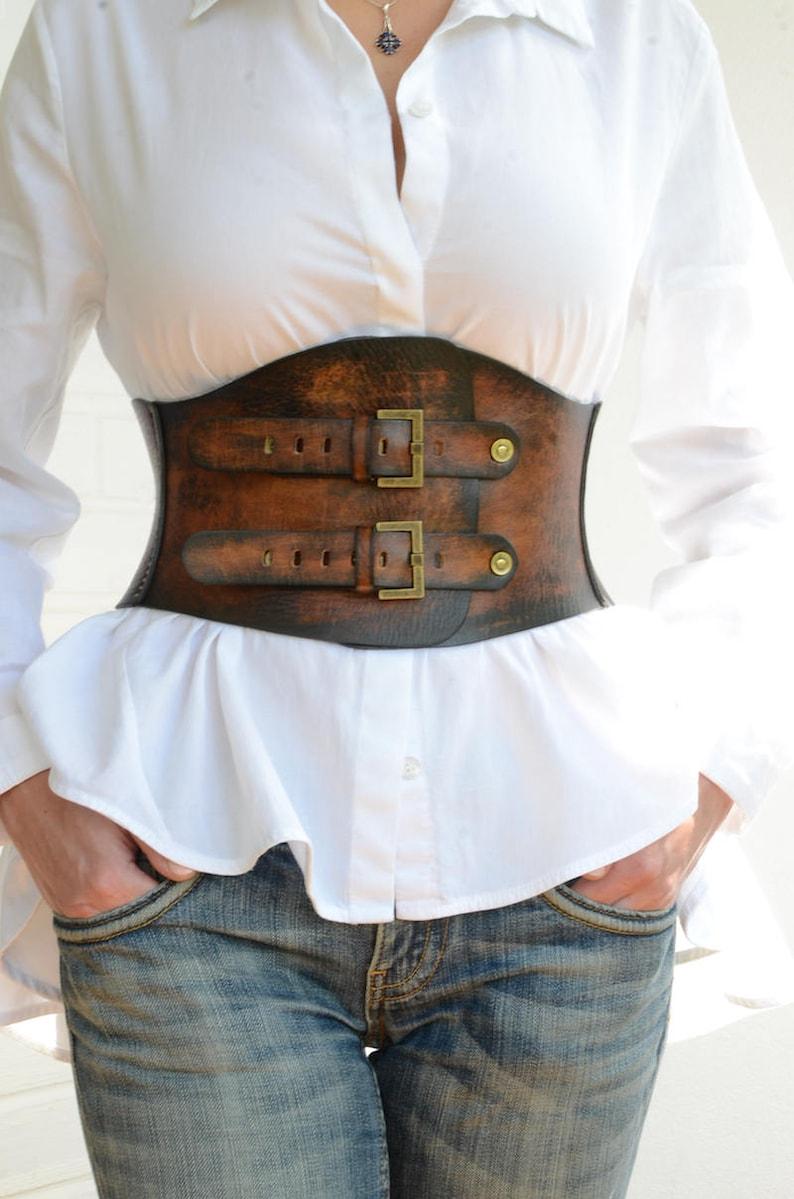 f3972d24d95 Brown leather corset belt Boho belt Wide waist belt Womens