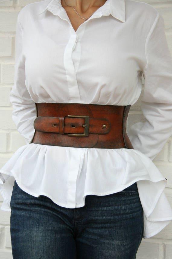 Ceinture corset en cuir pour femme taille large ceinture Western ceinture  serre-taille ca234986cab