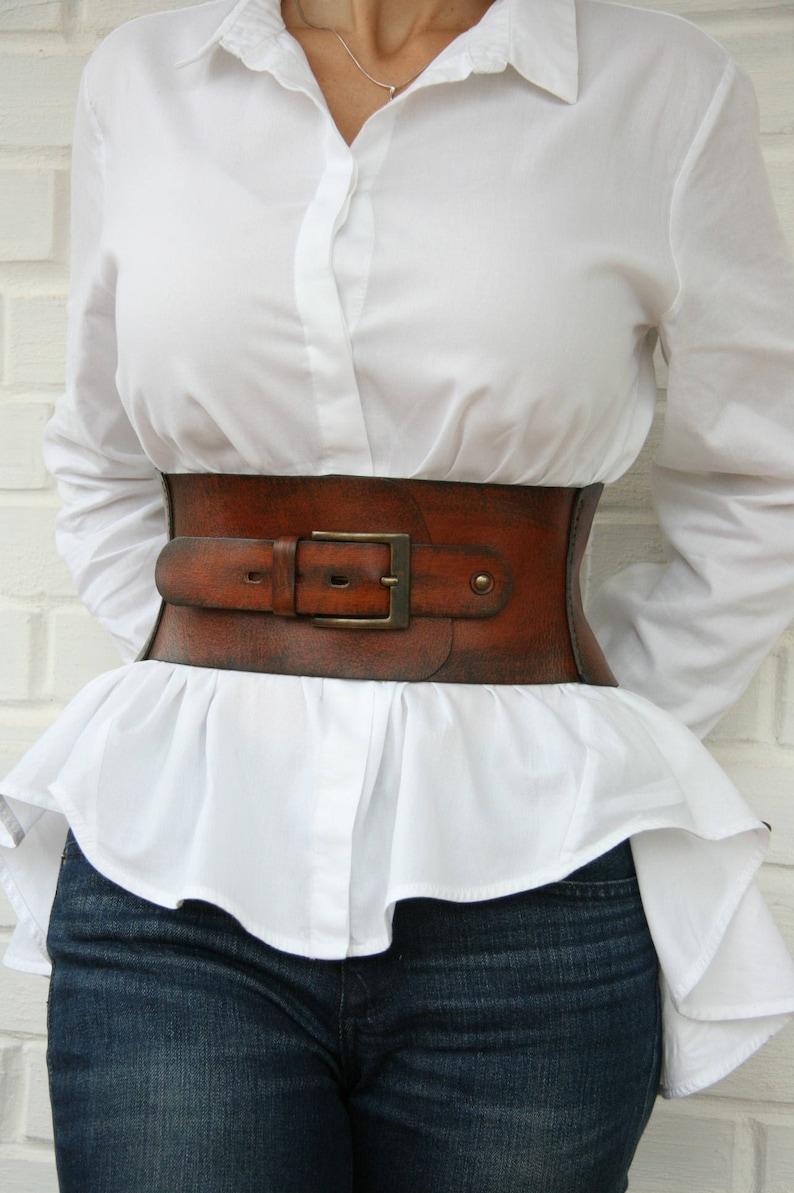 cf488d0df3c Leather corset belt for women Wide waist belt Western belt