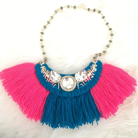 """ras de cou fashion necklace neon Collier plastron /""""Rose Fluo /& cristal/"""""""