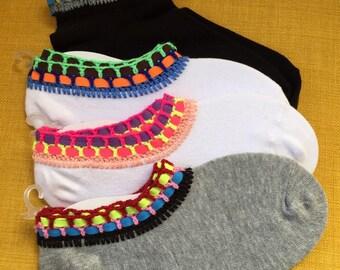 White socks, Colorful socks for women, birthday gift, Unique socks, Crochet socks, Casual socks, Handmade socks, Crazy socks, Funny socks