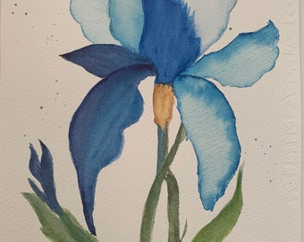 Original Blue Iris Watercolor Wall Art, Blue Iris Watercolor Art, Botanical Iris Painting