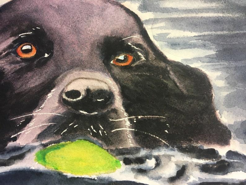 Black Lab Painting Custom Dog Portrait Labrador Watercolor