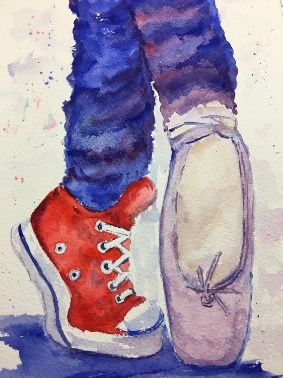 Chaussures de pointe et Converse aquarelle, aquarelle, aquarelle, peinture à l'aquarelle chaussures de danse | Nouvelle Arrivée  1f08cc