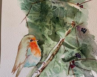 Colorful Bird Watercolor Wall Art, Original Bird Home Decor Art
