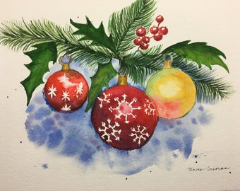 Christmas Watercolor Painting, Christmas Ornaments and Holly Painting, Handpainted Christmas Greens