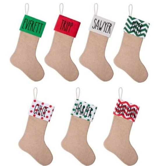 Personalized Christmas Stocking Cream Ivory Red Snowflake Stocking Rae Dunn Inspired Farmhouse Christmas Stockings
