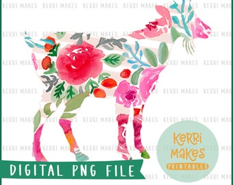 Floral Goat PNG design file instant download - perfect for tshirts and other craft projects