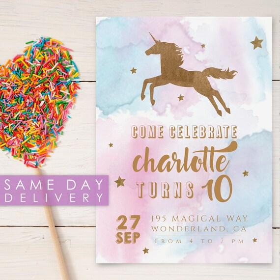 Pastel Unicorn Birthday Invitation Printable Invitation Etsy